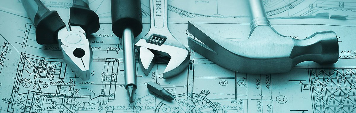 Commercial property maintenance - building plan with tools